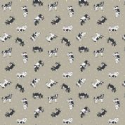 Lewis & Irene Small Things on The Farm - 5420 - Friesian Cows on Hessian - SM4.2 - Cotton Fabric